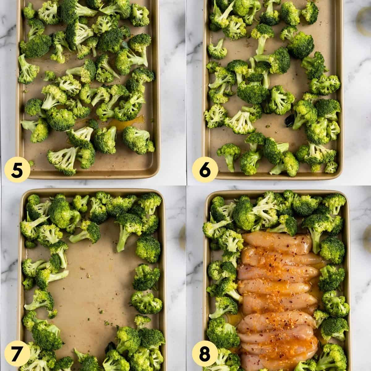 Broccoli and chicken on sheet pan before cooking.