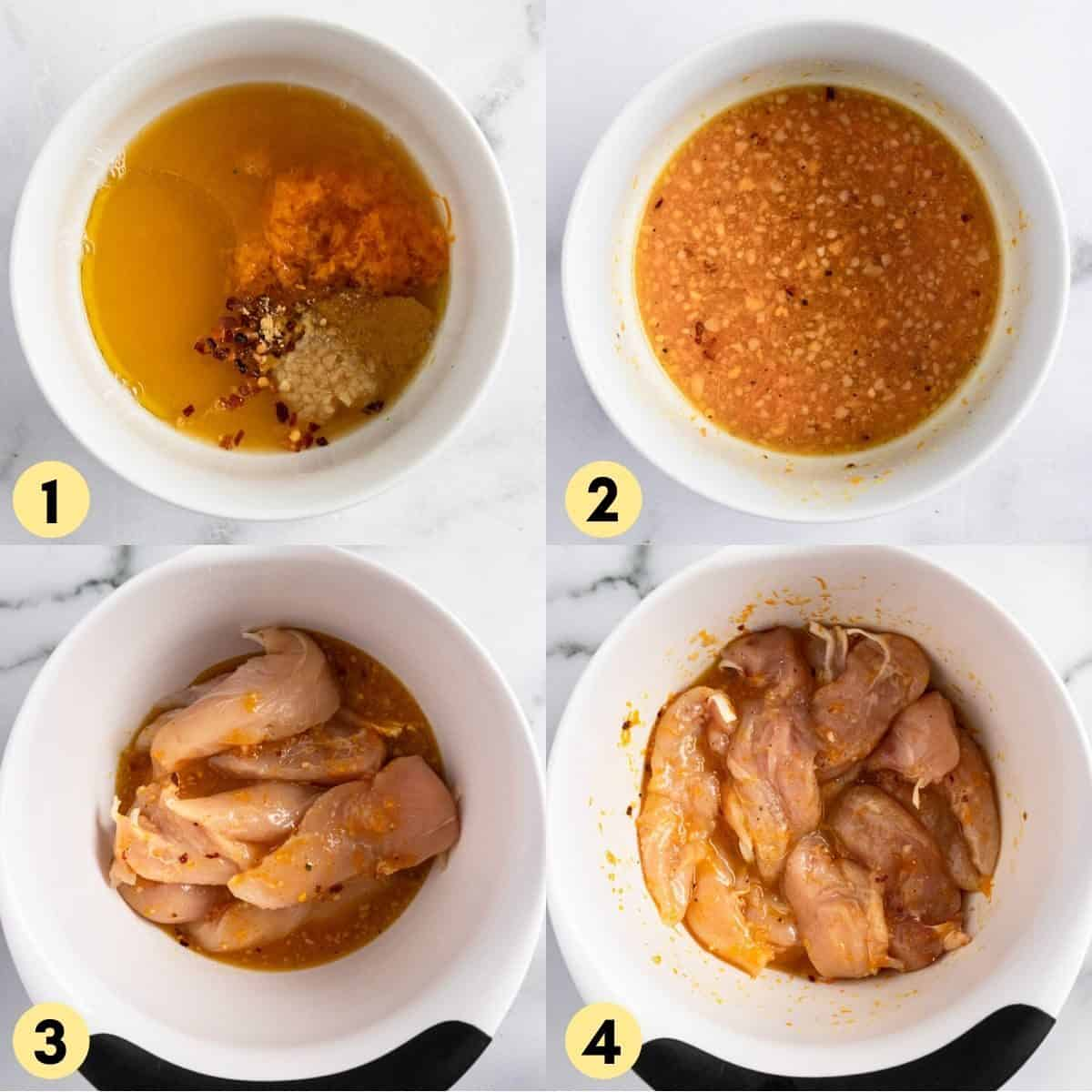 Orange chicken sauce with tenderloins in bowl.