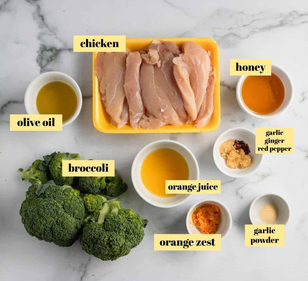 Ingredients used to make chicken and broccoli recipe.