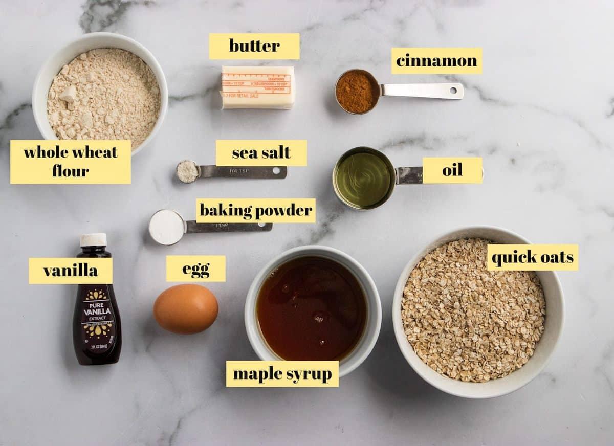 Cookie recipe ingredients.