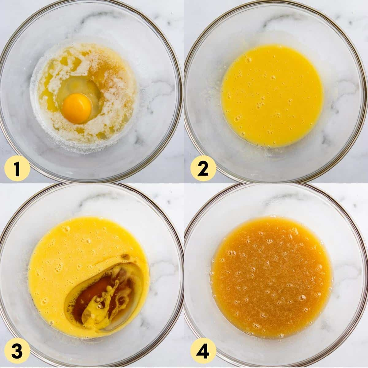 Step by step photos for recipe with egg and butter in bowl, maple, etc.