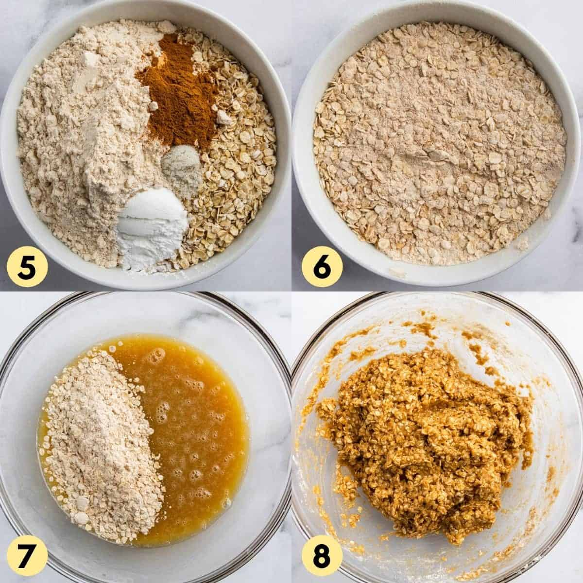 Step by step photos to make recipe with dry ingredients.