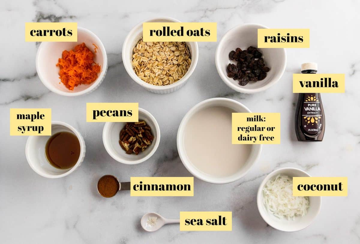 Ingredients to make overnight oatmeal recipe.