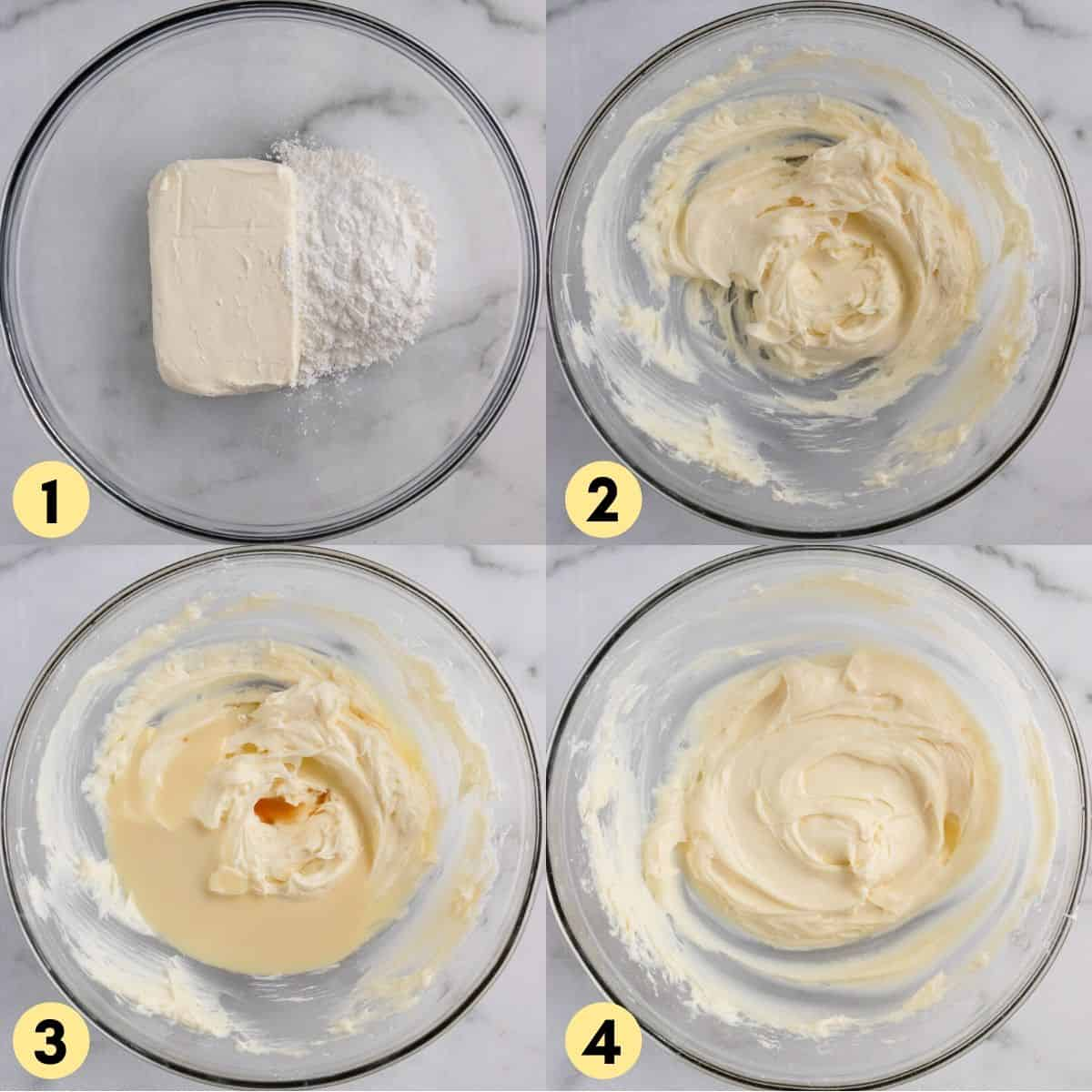 Steps to make recipe with whipped cream cheese.