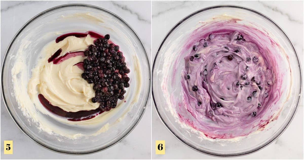Mixing bowl with added blueberries into cheesecake dip.