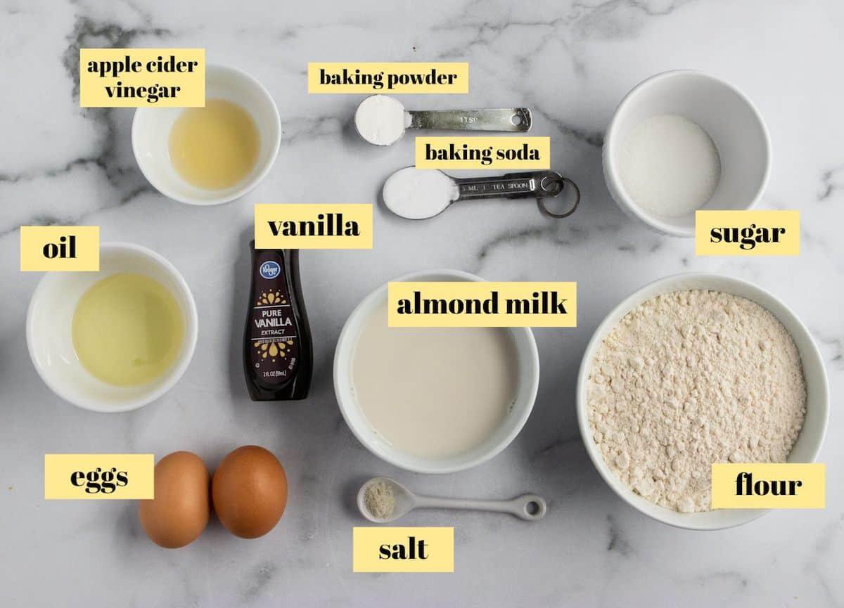 Ingredients to make dairy free buttermilk pancakes.