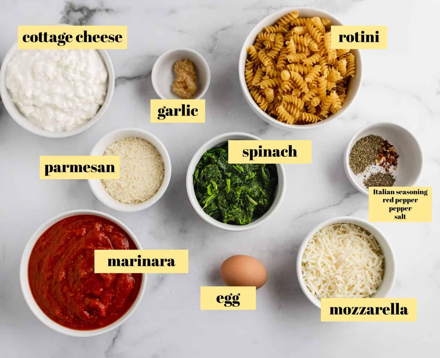Ingredients to make pasta recipe.