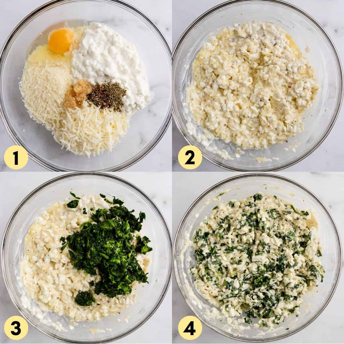 Mixture of cheese, egg and spinach in bowl.