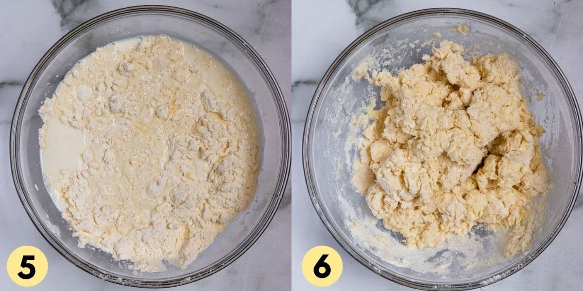 Biscuit dough in mixing bowl.