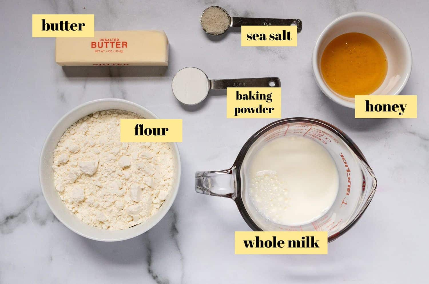 Ingredients in honey biscuits.