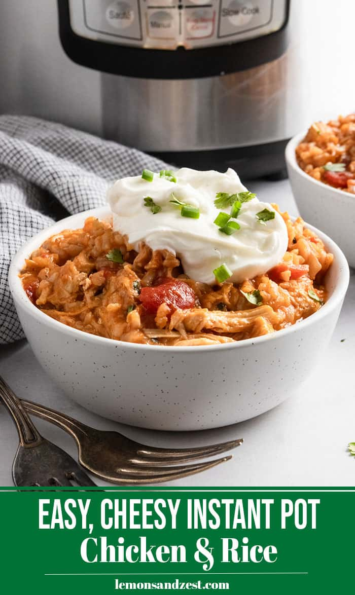 Instant Pot Chicken and Rice in bowl with sour cream.