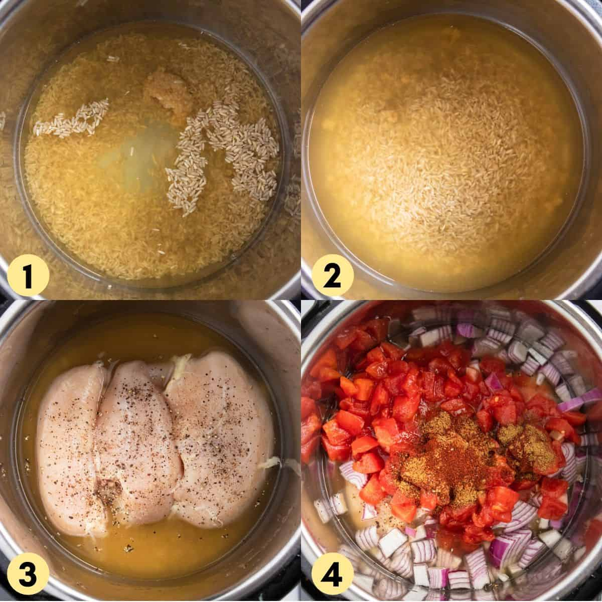 Process photos with chicken, rice and broth in instant pot.