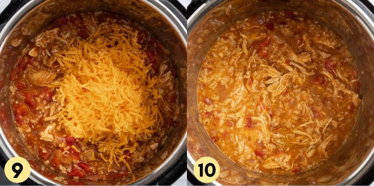 Cooked shredded chicken with cheese added in.