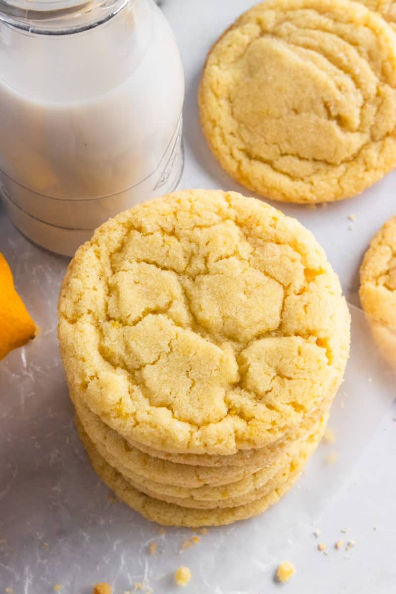 Lemon Sugar Cookies stack with milk.