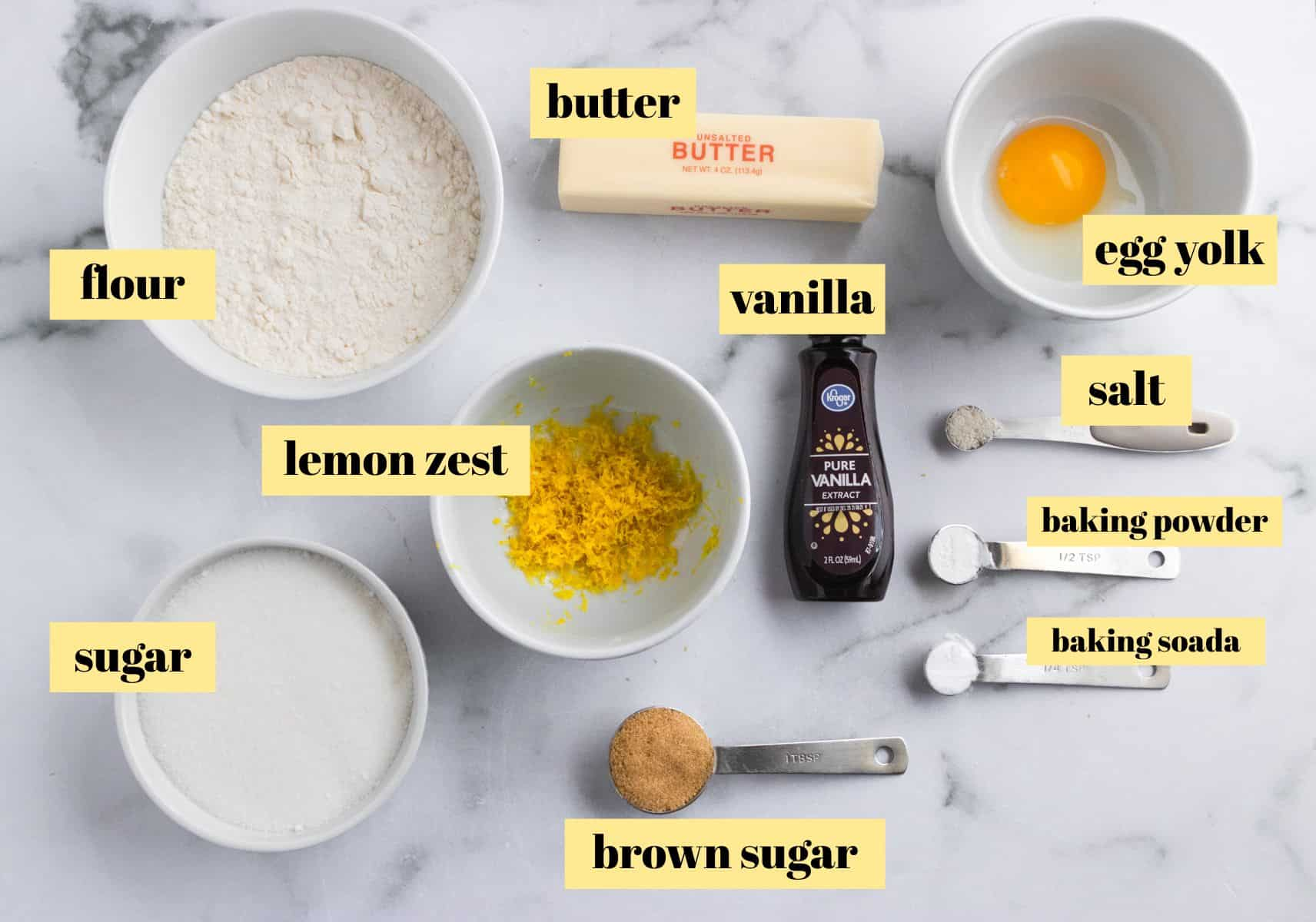 Ingredients labeled image for lemon sugar cookies.