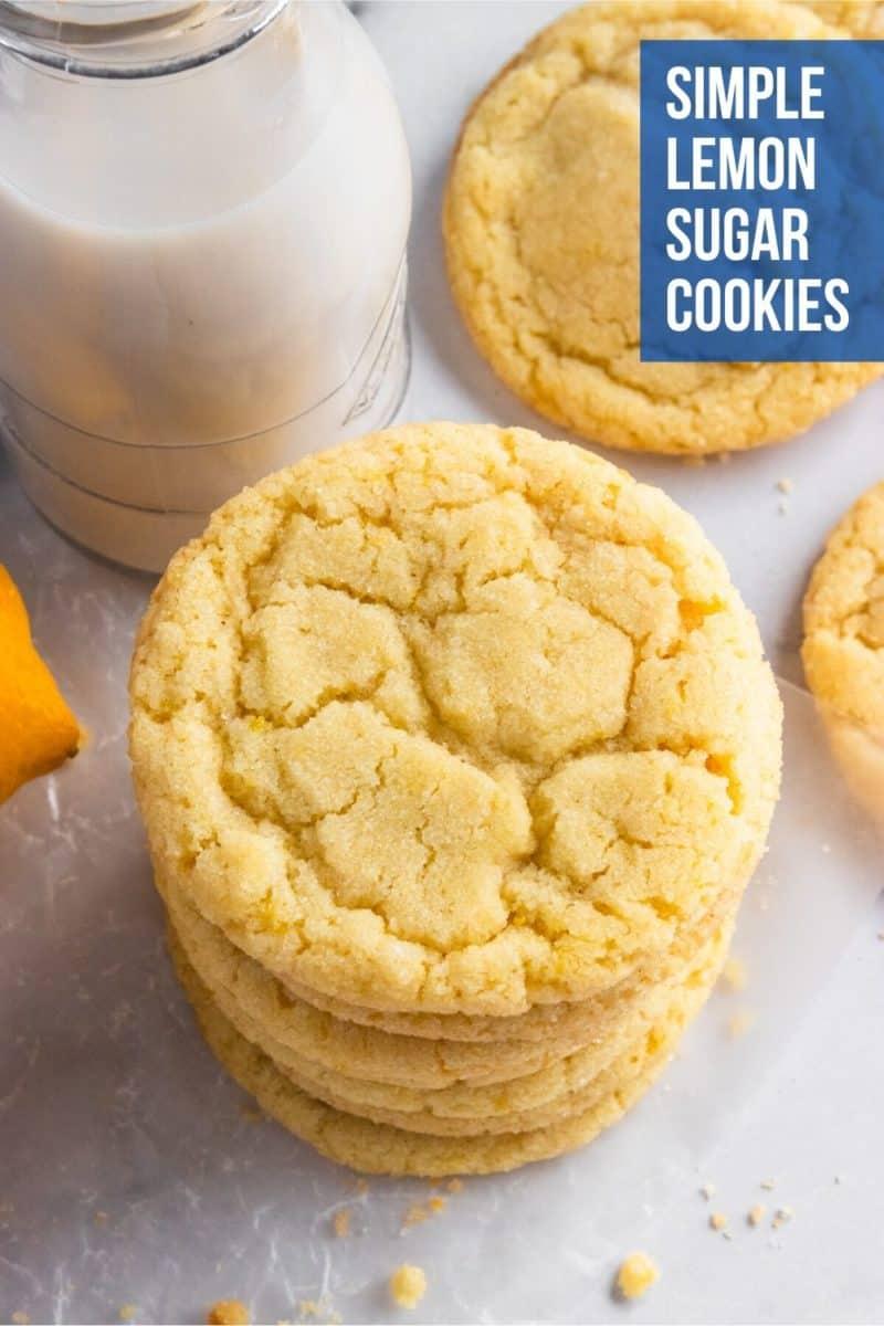 Stack of lemon sugar cookies.