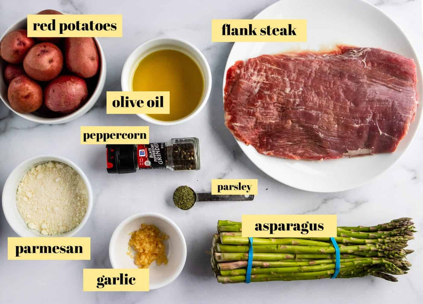Ingredients needed to make steak dinner.