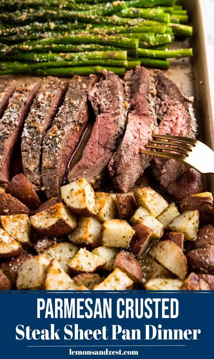 Sliced parmesan steak on sheet pan.