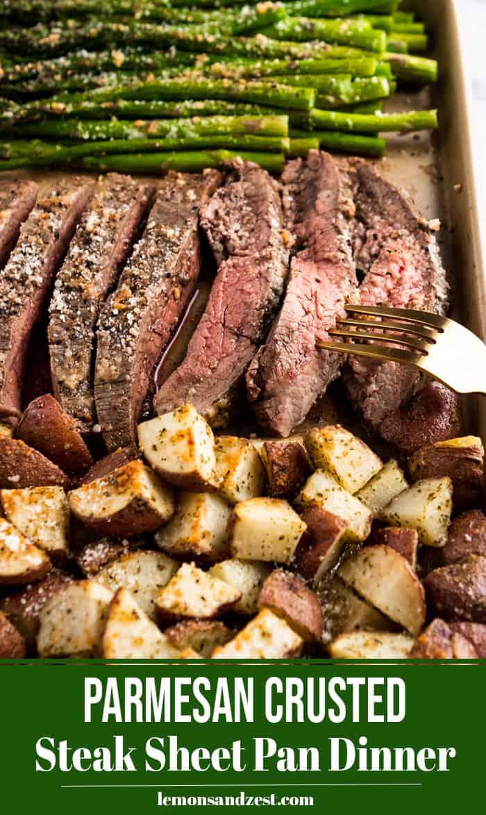 Steak sliced with fork on sheet pan.