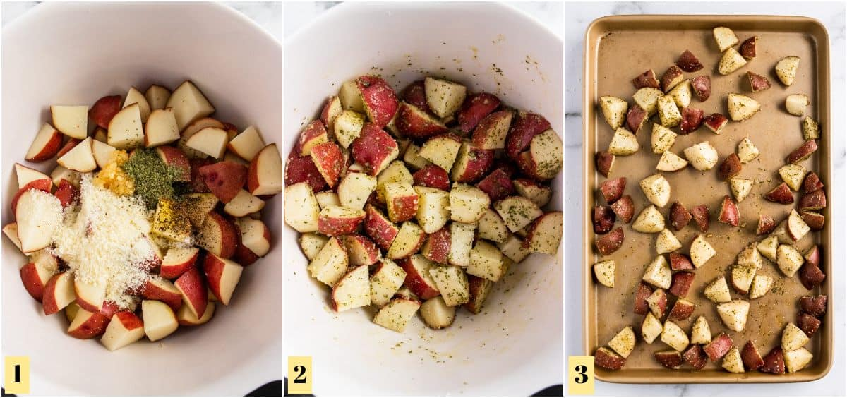 Process photos with seasoned potatoes in bowl and then on sheet pan.