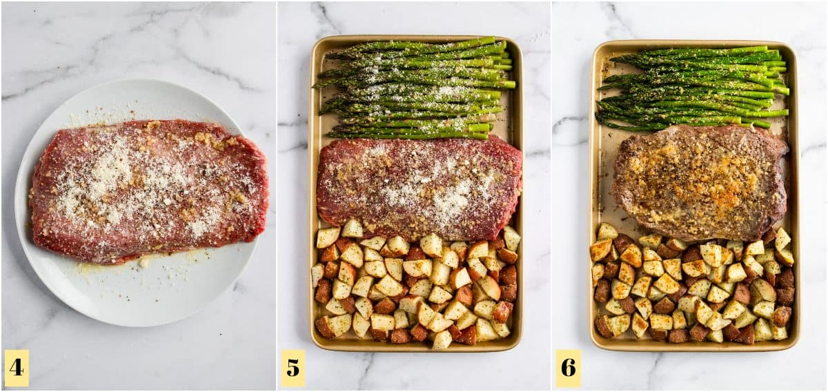 Steak seasoned on plate and then added to sheet pan.