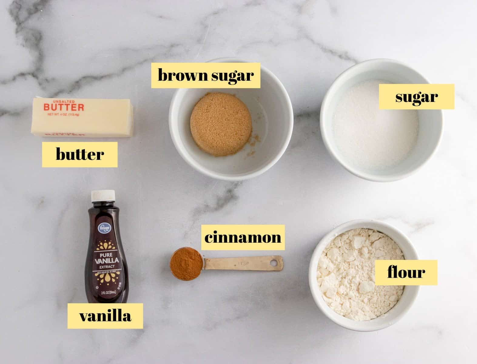 Crumble topping ingredients.