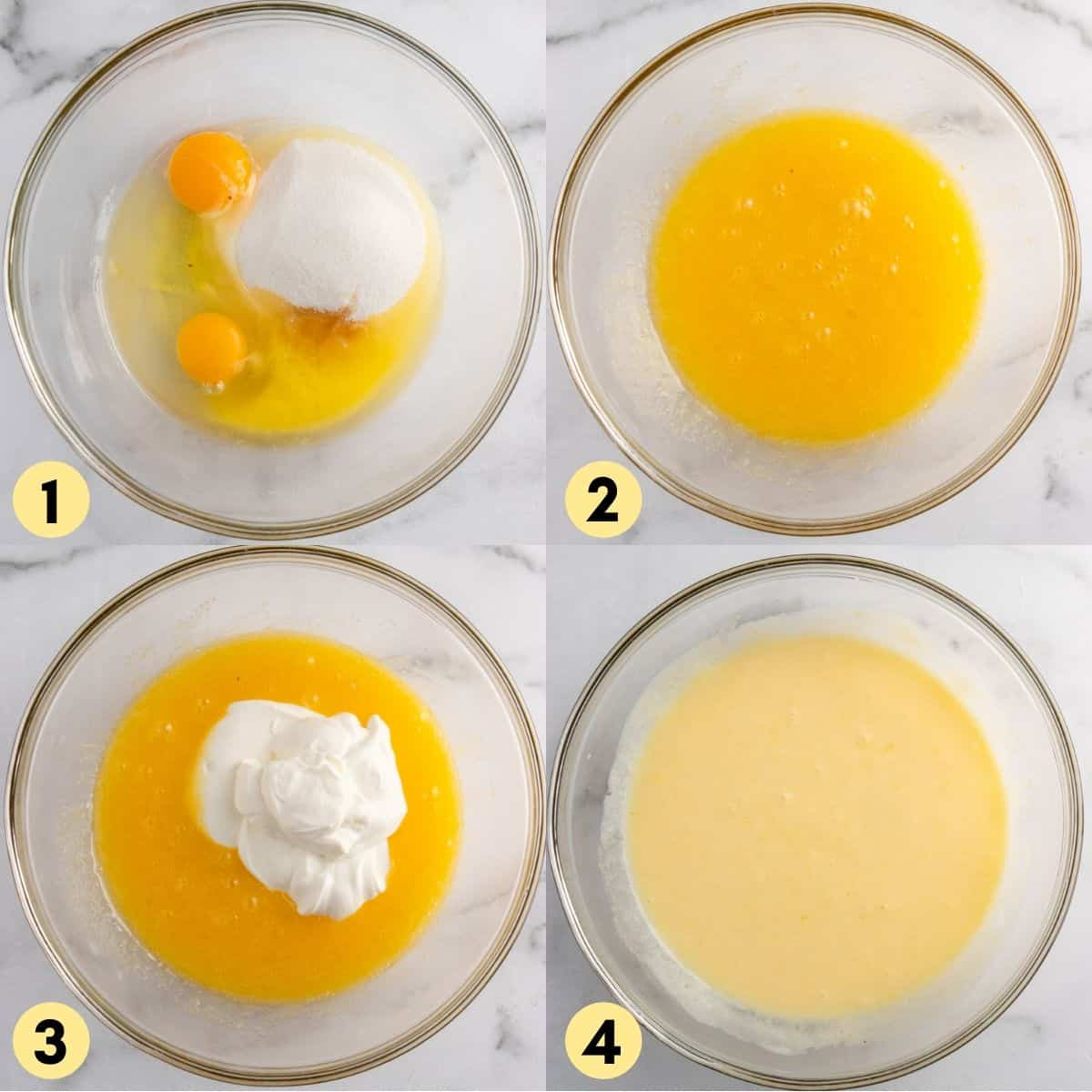 Process photos for recipe including mixing of eggs, butter and sugar.