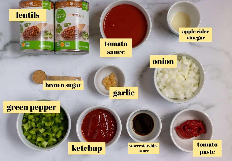 Vegan Sloppy joes ingredients.