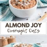 Chocolate overnight oats with coconut and almonds in white bowl.