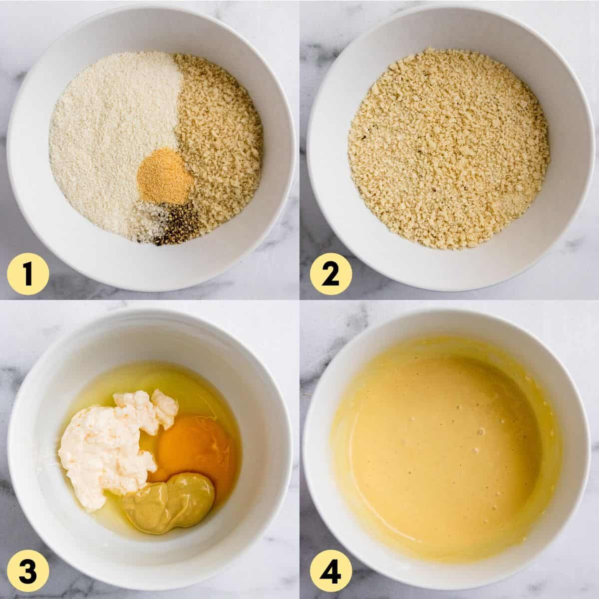 Panko mixture in bowl and egg mixture for breading.