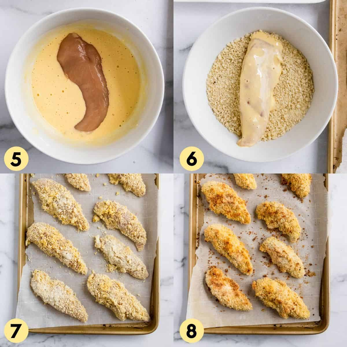Chicken tenders in breading and egg mixture.
