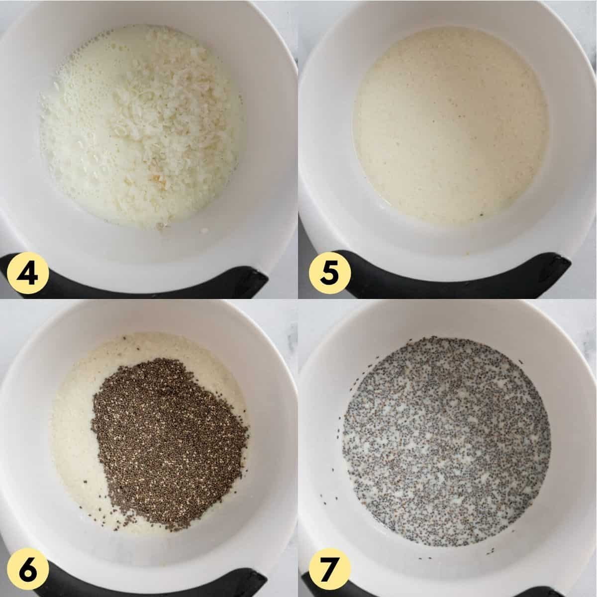 Process photos with whisked chia seeds in milk in white bowl.