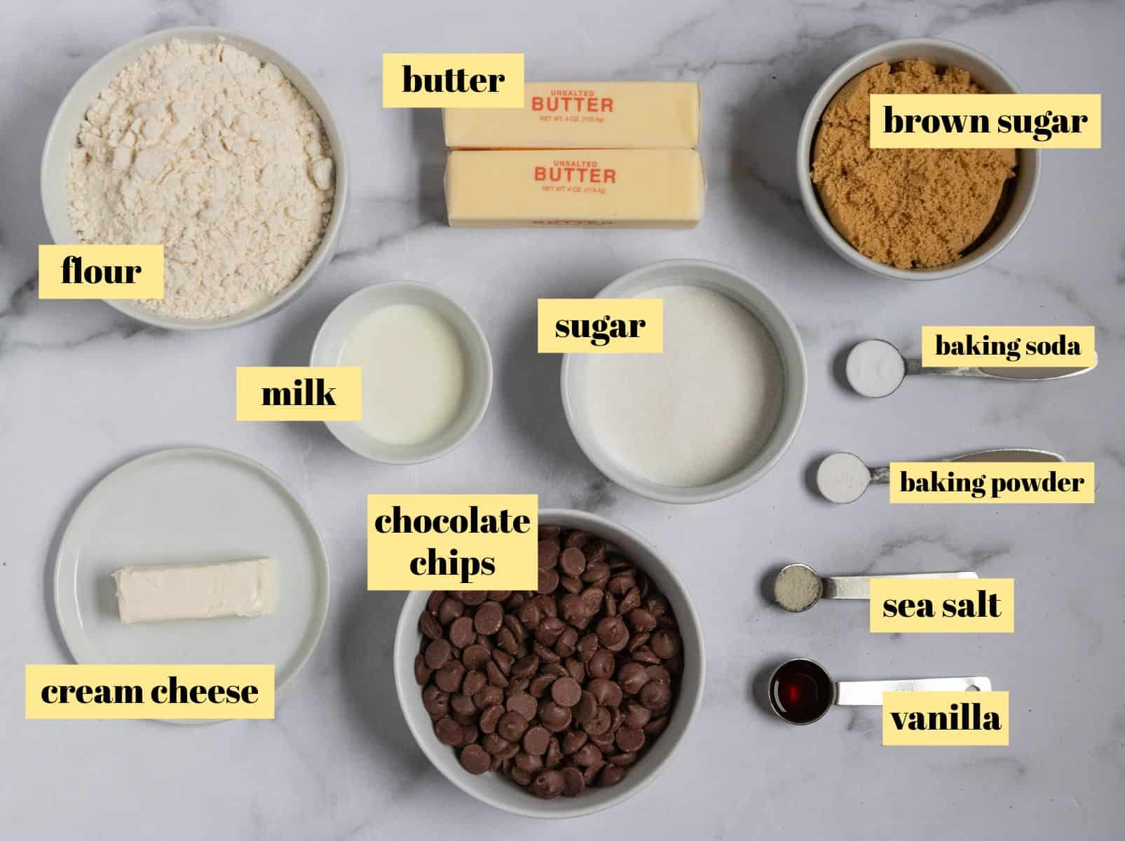 Ingredients to make eggless chocolate chip cookies.