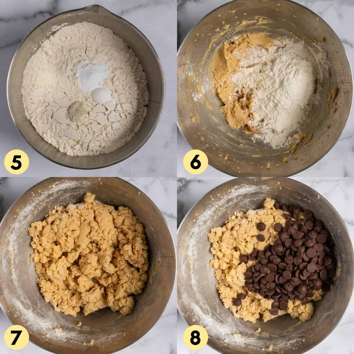 Dry ingredients added into wet ingredients in mixing bowl.