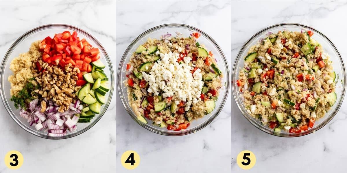 Steps to make feta quinoa salad.