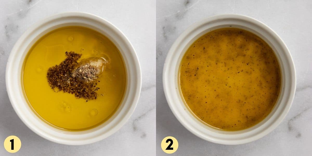 Olive oil, garlic, salt and pepper in bowl.