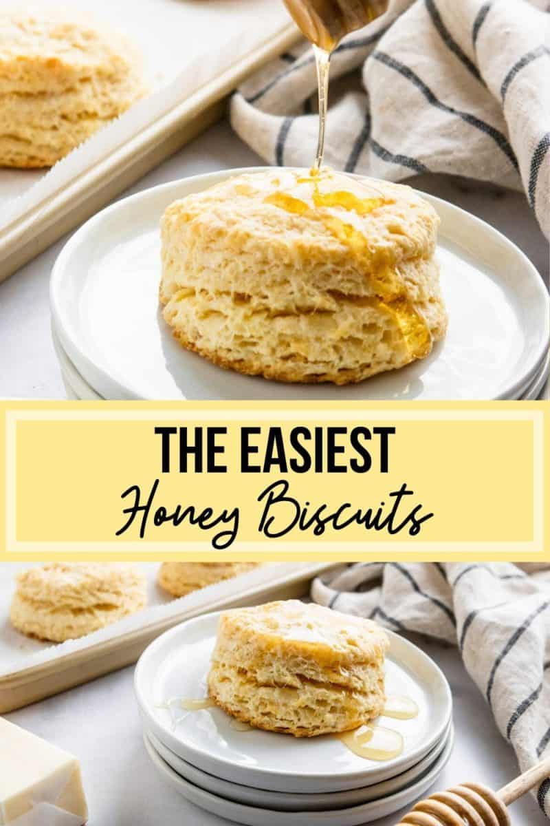 Honey biscuit with drizzle on plate.