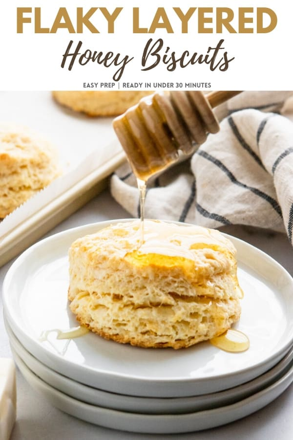 Honey biscuits with honey drizzle.