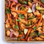 honey lime chicken fajitas on sheet pan.
