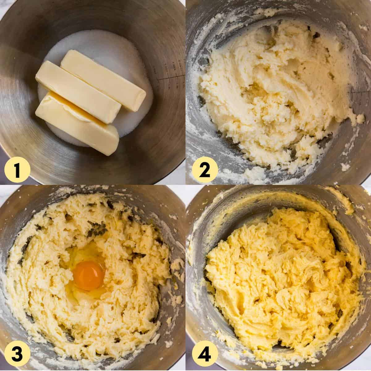 Butter and sugar creamed in bowl with egg added in.