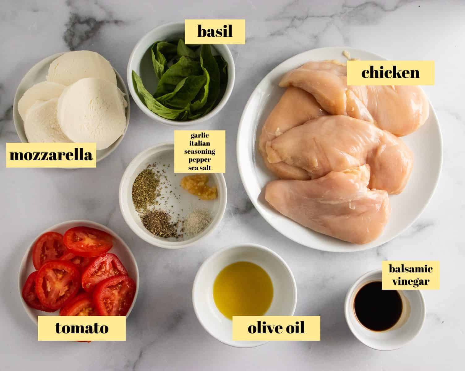 Ingredients to make mozzarella stuffed chicken.