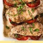Stuffed chicken with mozzarella, tomato and basil.