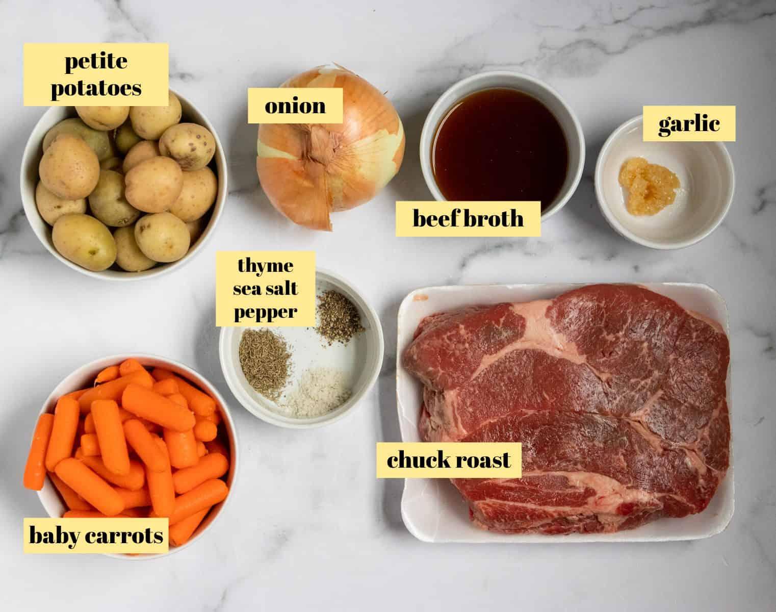 Ingredients to make pot roast recipe.
