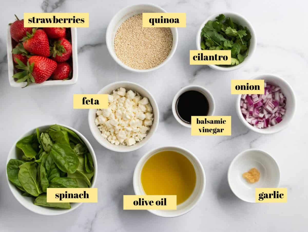 Ingredients to make quinoa salad.