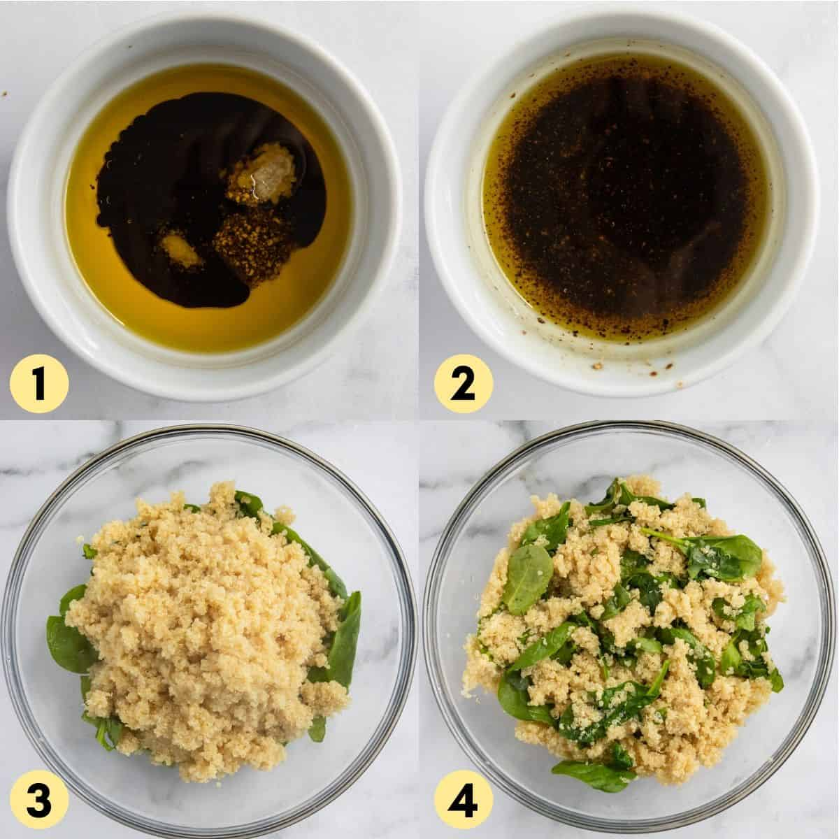 Dressing ingredients in small bowl along with quinoa and spinach in mixing bowl.
