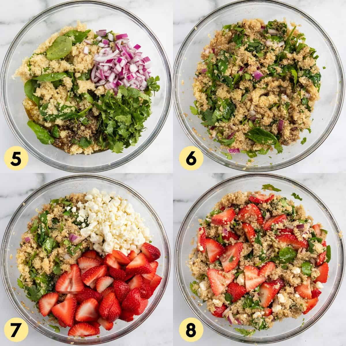 Process photos to put together strawberry quinoa salad.
