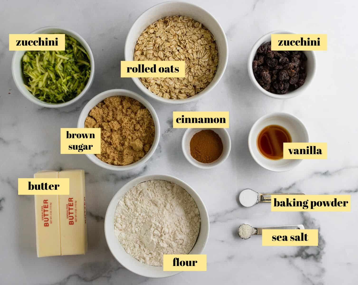 Ingredients to make zucchini oatmeal bars.