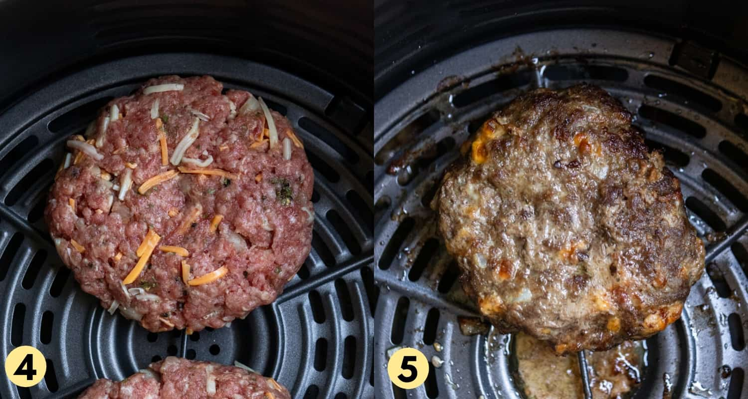 Uncooked and cooked burger in air fryer.