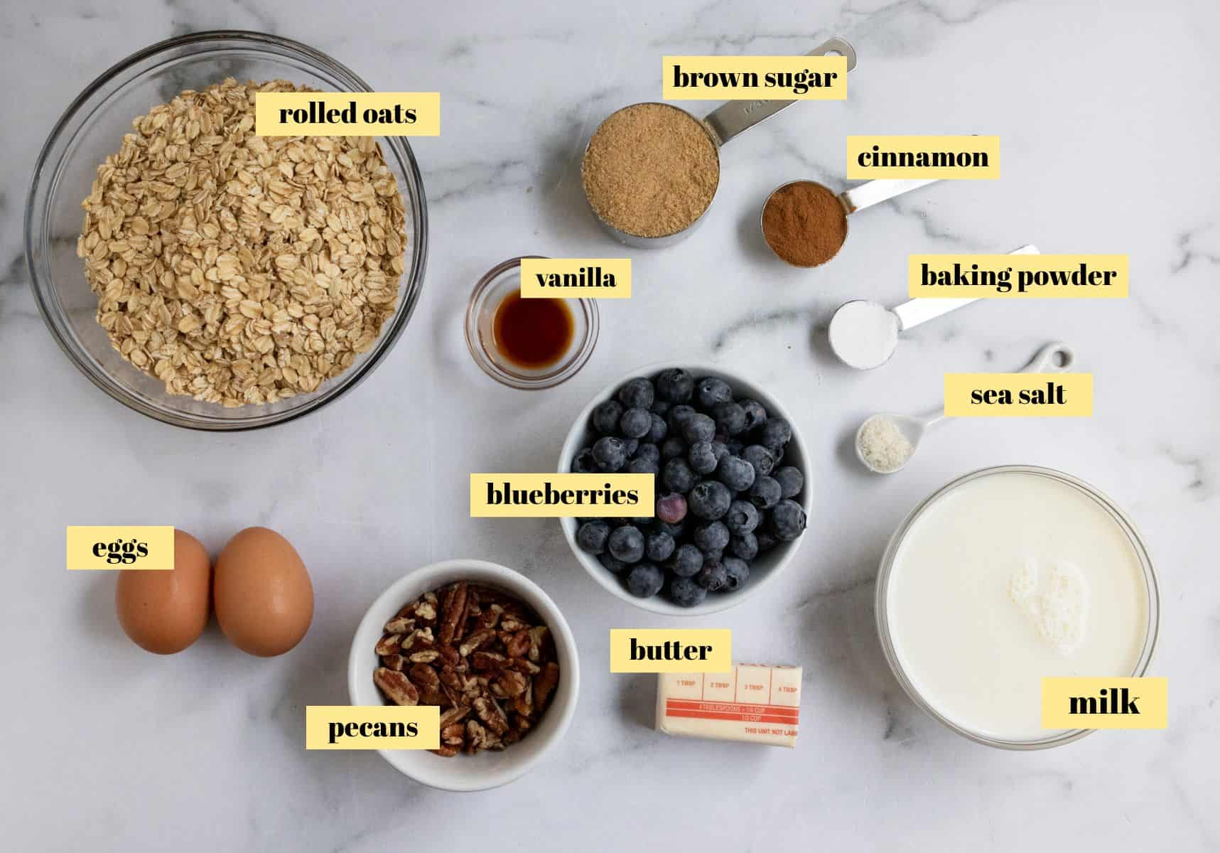 Labeled ingredients laying on a counter.
