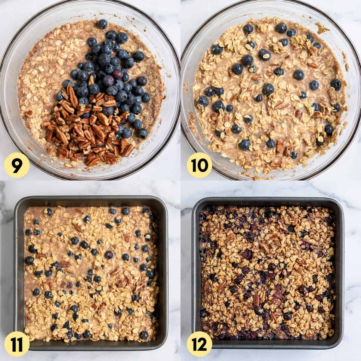 Blueberries and pecans added to mixture in bowl.